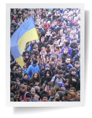 Ukrainians demonstrating in Maidan